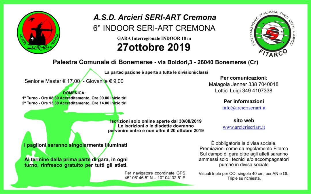 6° INDOOR SERI-ART CREMONA – 27 OTTOBRE 2019